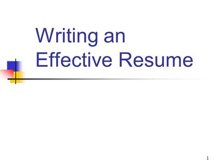 1 Writing an Effective Resume. 2 Why Write a Resume?  Your resume is a personal gear intended to persuade a potential employer that you are the best.