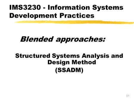 3.1 Blended approaches: Structured Systems Analysis and Design Method (SSADM) IMS3230 - Information Systems Development Practices.