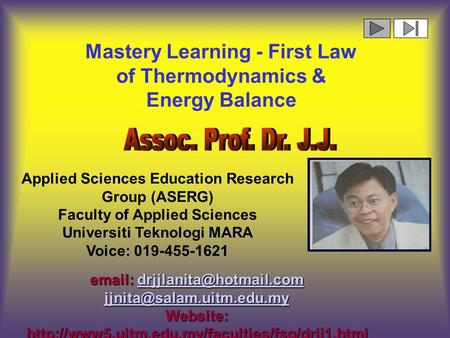 Mastery Learning - First Law of Thermodynamics & Energy Balance    Website: