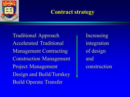 Contract strategy Traditional ApproachIncreasing Traditional ApproachIncreasing Accelerated Traditionalintegration Accelerated Traditionalintegration.