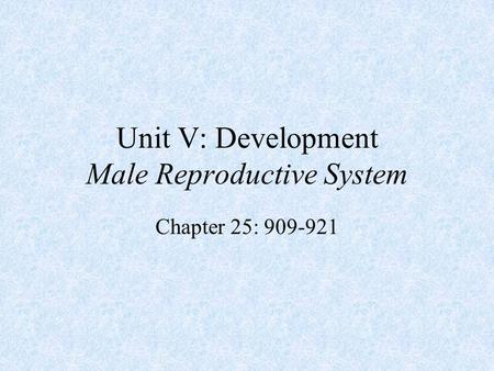 Unit V: Development Male Reproductive System Chapter 25: 909-921.