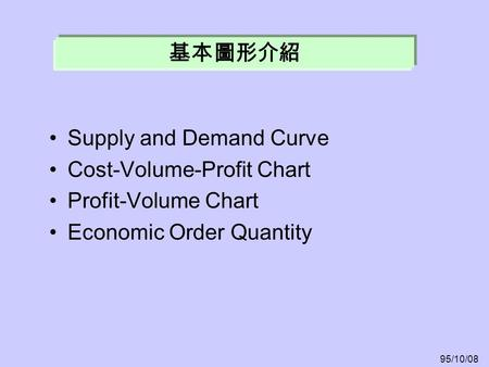 Supply and Demand Curve Cost-Volume-Profit Chart Profit-Volume Chart Economic Order Quantity 基本圖形介紹 95/10/08.