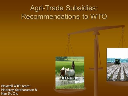 Agri-Trade Subsidies: Recommendations to WTO Maxwell WTO Team: Maithreyi Seetharaman & Han Sic Cho.