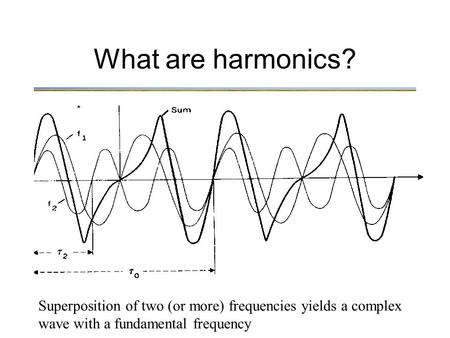 What are harmonics? Superposition of two (or more) frequencies yields a complex wave with a fundamental frequency.