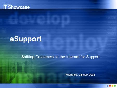 ESupport Shifting Customers to the Internet for Support Published: January 2002.