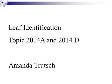 Leaf Identification Topic 2014A and 2014 D Amanda Trutsch.