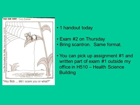 1 handout today Exam #2 on Thursday Bring scantron. Same format. You can pick up assignment #1 and written part of exam #1 outside my office in H510 –