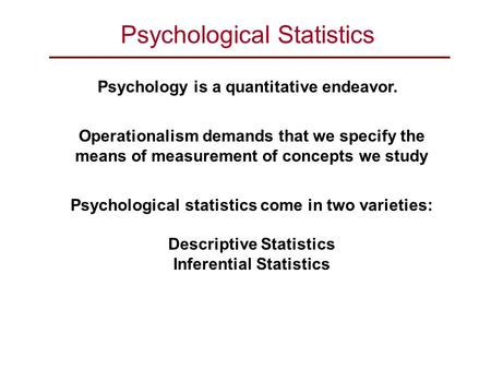 Psychological Statistics