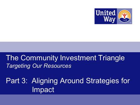 The Community Investment Triangle Targeting Our Resources Part 3: Aligning Around Strategies for Impact.