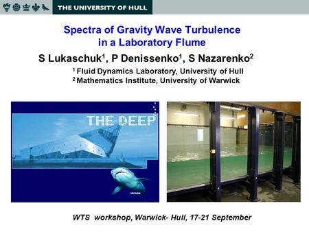 Spectra of Gravity Wave Turbulence in a Laboratory Flume S Lukaschuk 1, P Denissenko 1, S Nazarenko 2 1 Fluid Dynamics Laboratory, University of Hull 2.