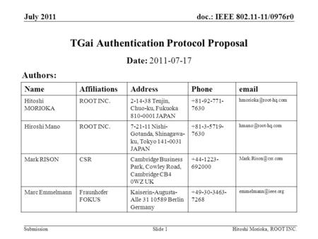 Doc.: IEEE 802.11-11/0976r0 Submission July 2011 Hitoshi Morioka, ROOT INC.Slide 1 TGai Authentication Protocol Proposal Date: 2011-07-17 Authors: NameAffiliationsAddressPhoneemail.