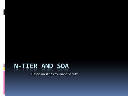 "Based on slides by David Schuff. Review: N-Tier Architectures  A ""tier"" is a software layer that serves as a component of a larger solution  Here's."