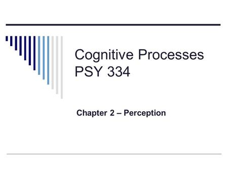Cognitive Processes PSY 334 Chapter 2 – Perception.