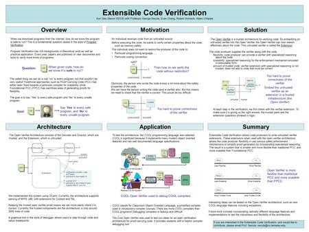 Extensible Code Verification Kun Gao (Senior EECS) with Professor George Necula, Evan Chang, Robert Schneck, Adam Chlipala An individual receives code.