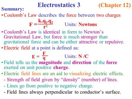 Summary: Coulomb's Law describes the force between two charges Coulomb's Law is identical in form to Newton's Gravitational Law, but force is much stronger.