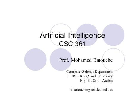 Artificial Intelligence CSC 361