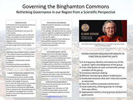 Governing the Binghamton Commons Rethinking Governance in our Region from a Scientific Perspective INTRODUCTION All animal and human groups function as.