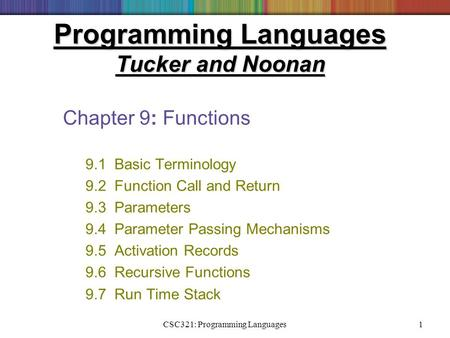 CSC321: Programming Languages1 Programming Languages Tucker and Noonan Chapter 9: Functions 9.1 Basic Terminology 9.2 Function Call and Return 9.3 Parameters.