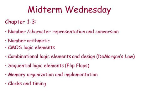 Midterm Wednesday Chapter 1-3: Number /character representation and conversion Number arithmetic CMOS logic elements Combinational logic elements and design.