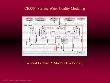 CE5504 – Surface Water Quality Modeling CE5504 Surface Water Quality Modeling General Lecture 2. Model Development.