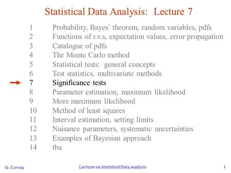 G. Cowan Lectures on Statistical Data Analysis 1 Statistical Data Analysis: Lecture 7 1Probability, Bayes' theorem, random variables, pdfs 2Functions of.