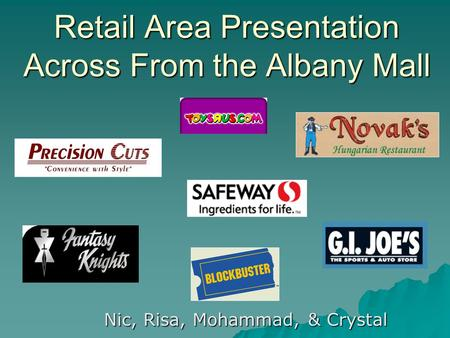 Retail Area Presentation Across From the Albany Mall Nic, Risa, Mohammad, & Crystal.