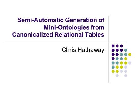 Semi-Automatic Generation of Mini-Ontologies from Canonicalized Relational Tables Chris Hathaway.