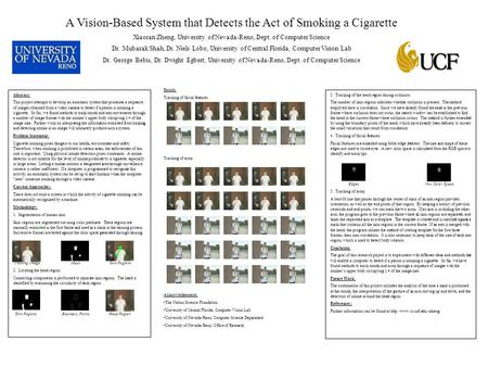 A Vision-Based System that Detects the Act of Smoking a Cigarette Xiaoran Zheng, University of Nevada-Reno, Dept. of Computer Science Dr. Mubarak Shah,