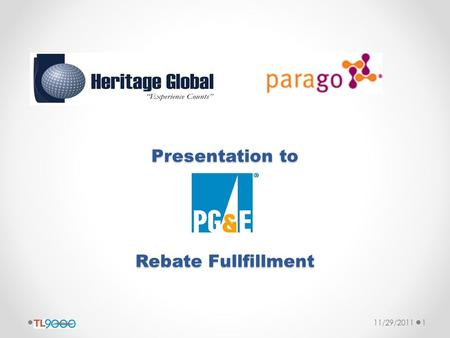 Presentation to Rebate Fullfillment 11/29/20111. Heritage Overview Formed in 2003 as IT Staffing Firm Exceeded $5M in gross revenue Headquartered in Glendale,