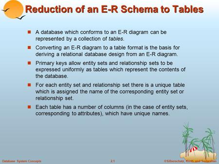 ©Silberschatz, Korth and Sudarshan2.1Database System Concepts Reduction of an E-R Schema to Tables A database which conforms to an E-R diagram can be represented.