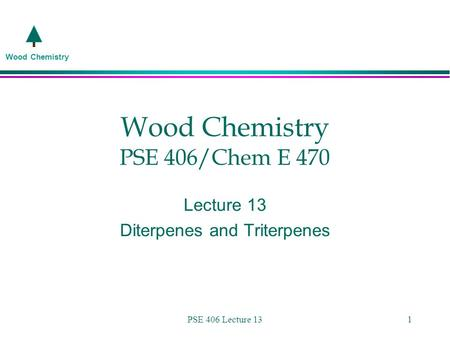 Wood Chemistry PSE 406 Lecture 131 Wood Chemistry PSE 406/Chem E 470 Lecture 13 Diterpenes and Triterpenes.