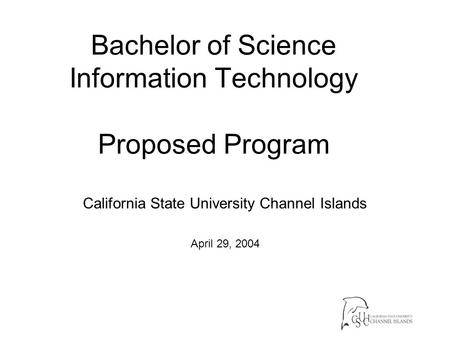 Bachelor of Science Information Technology Proposed Program California State University Channel Islands April 29, 2004.