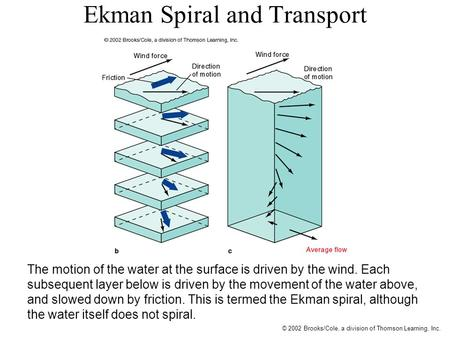 © 2002 Brooks/Cole, a division of Thomson Learning, Inc. Ekman Spiral and Transport The motion of the water at the surface is driven by the wind. Each.