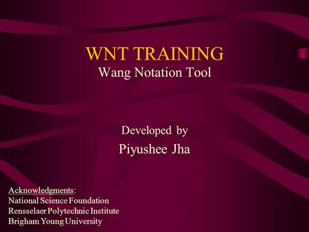 WNT TRAINING Wang Notation Tool Developed by Piyushee Jha Acknowledgments: National Science Foundation Rensselaer Polytechnic Institute Brigham Young University.