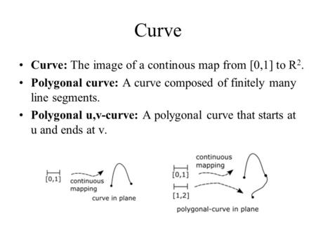 Curve Curve: The image of a continous map from [0,1] to R 2. Polygonal curve: A curve composed of finitely many line segments. Polygonal u,v-curve: A polygonal.