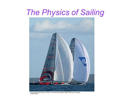 The Physics of Sailing. Outline Hulls Keels Sails.