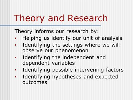 Theory and Research Theory informs our research by: Helping us identify our unit of analysis Identifying the settings where we will observe our phenomenon.