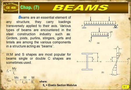 B-1 B eams are an essential element of any structure, they carry loadings transversely applied to their axis. Various types of beams are encountered in.