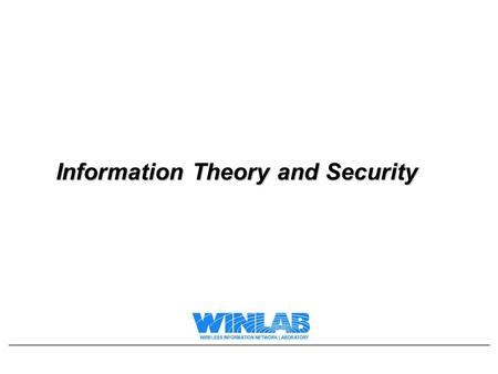Information Theory and Security