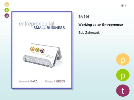 E s b 15-1 p p t BA 346 Working as an Entrepreneur Bob Zahrowski.