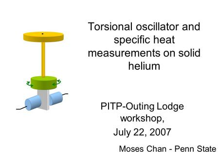 Torsional oscillator and specific heat measurements on solid helium PITP-Outing Lodge workshop, July 22, 2007 Moses Chan - Penn State.