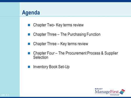 OH 3-1 Agenda Chapter Two- Key terms review Chapter Three – The Purchasing Function Chapter Three – Key terms review Chapter Four – The Procurement Process.