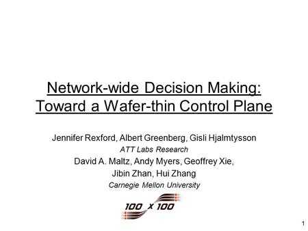1 Network-wide Decision Making: Toward a Wafer-thin Control Plane Jennifer Rexford, Albert Greenberg, Gisli Hjalmtysson ATT Labs Research David A. Maltz,