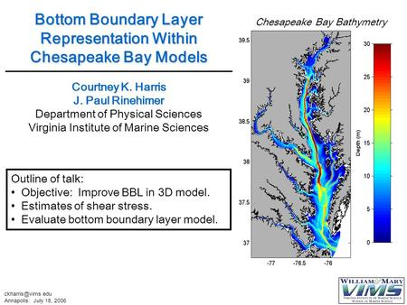 Annapolis: July 18, 2006 Outline of talk: Objective: Improve BBL in 3D model. Estimates of shear stress. Evaluate bottom boundary layer.