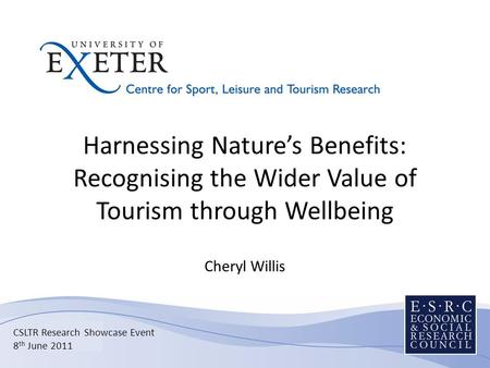 Harnessing Nature's Benefits: Recognising the Wider Value of Tourism through Wellbeing Cheryl Willis Sub-title in 24pt Calibri – Name of presenters CSLTR.
