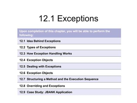 12.1 Exceptions. 12.1.1 The limitations of traditional methods of exception handling Error conditions are a certainty in programming Programmers make.