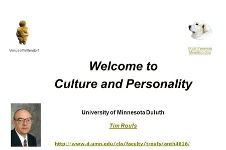 Welcome to Culture and Personality Venus of Willendorf Great Pyrenean Mountain Dog University of Minnesota.