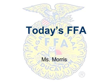 Today's FFA Ms. Morris.