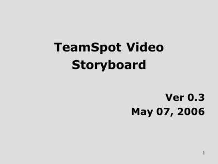 1 TeamSpot Video Storyboard Ver 0.3 May 07, 2006.