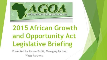 2015 African Growth and Opportunity Act Legislative Briefing Presented by Steven Pruitt, Managing Partner, Watts Partners.